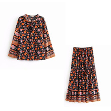 2pcs Printed Set Summer Women Long Sleeve Top + Skirt Vintage Thin Pleated Skirt Ruffle Pullover Tops Loose недорого