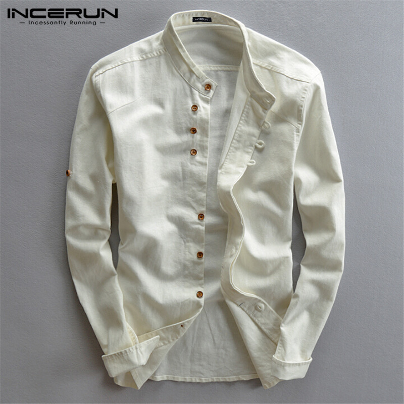 Spring Fashion Men Brand Shirts Casual Stand Collar Solid Long Sleeve Streetwear Business Shirts Cotton Camisa Plus Size INCERUN