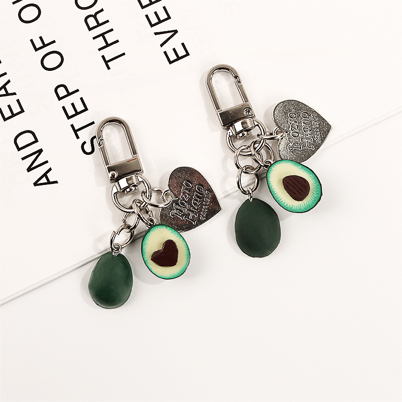 New Simulation Fruit Avocado Heart-shaped Headphone cover keychain car Fashion keyring Jewelry Gift For Women