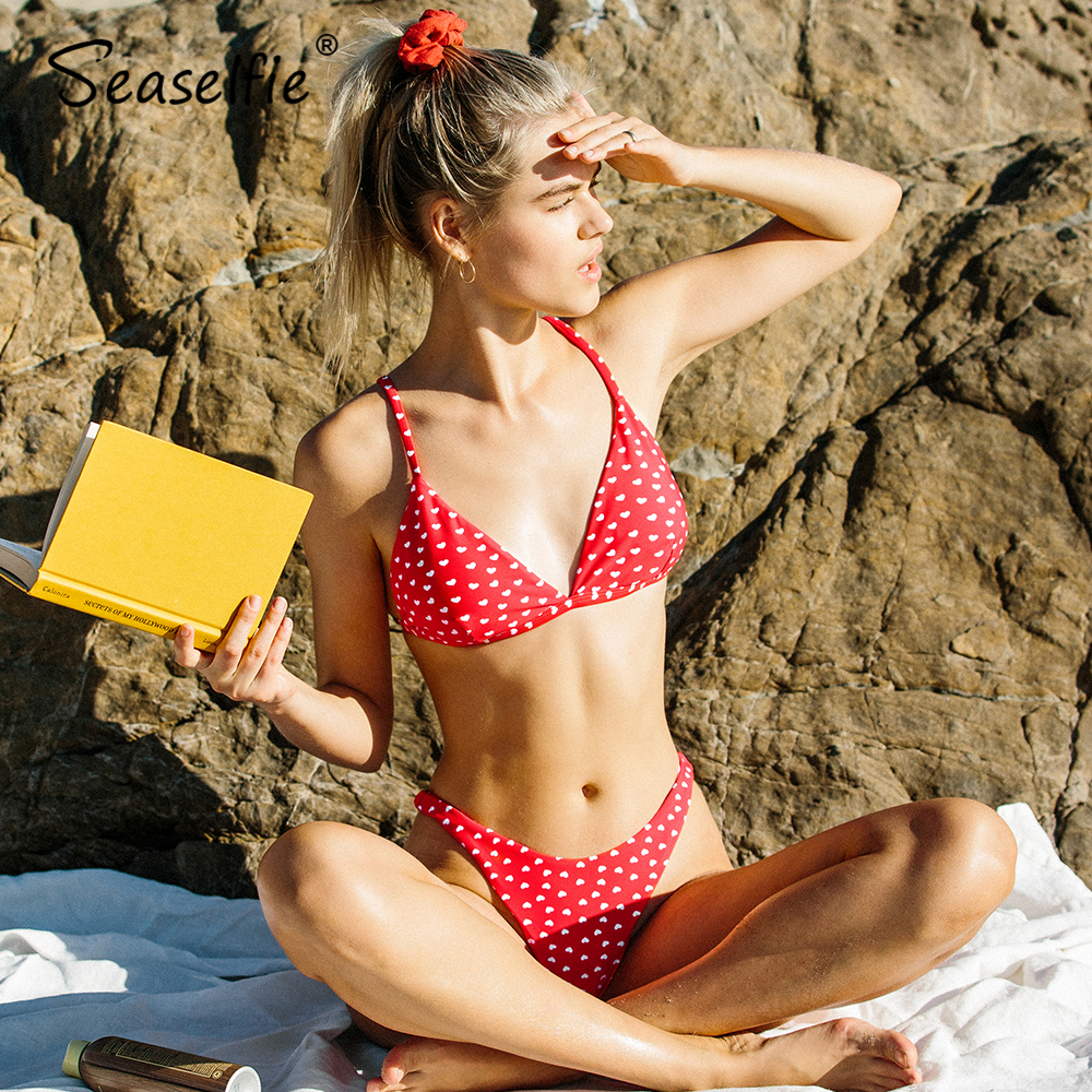 SEASELFIE Sexy Red All Heart Eyes For You Thong Bikini Sets Swimsuit High Cut Two Pieces Swimwear Women 2020 Beach Bathing Suits