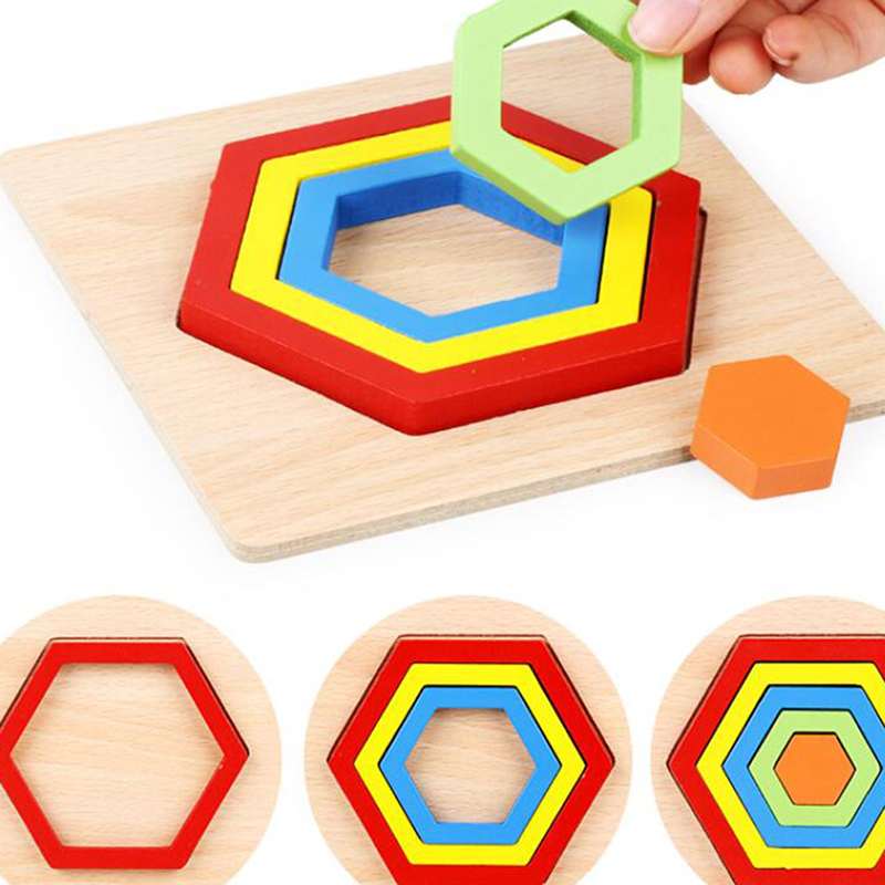 Shape Cognition Board Children\'S Jigsaw Puzzle Wooden Toys Kids Educational Toy Baby Montessori Learning Match Bricks Toys