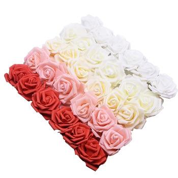10/20/30 шт 8 см PE пена роза цветы голова для дома Свадебные украшения Искусственные цветы «сделай сам» букет невесты Скрапбукинг