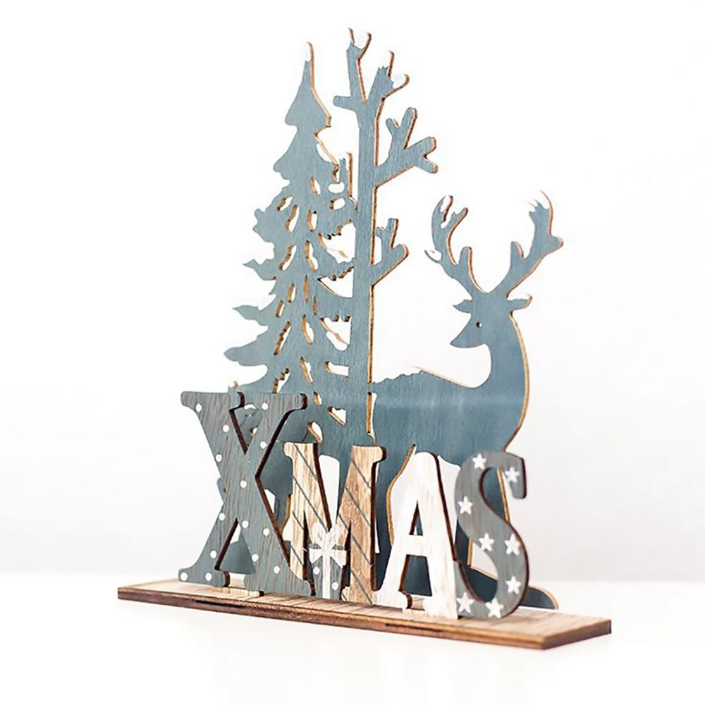 QIFU Santa Claus Elk Wooden Christmas Decoration Merry Christmas Decor For Home Natal 2019 Table Ornament Navidad Happy New Year