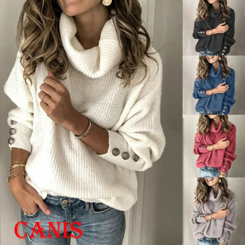 Fashion Women's Long Sleeve Knitted Sweater Jumper Pullovers Knitwear Autumn Winter Tops Pullover Turtleneck Sweaters
