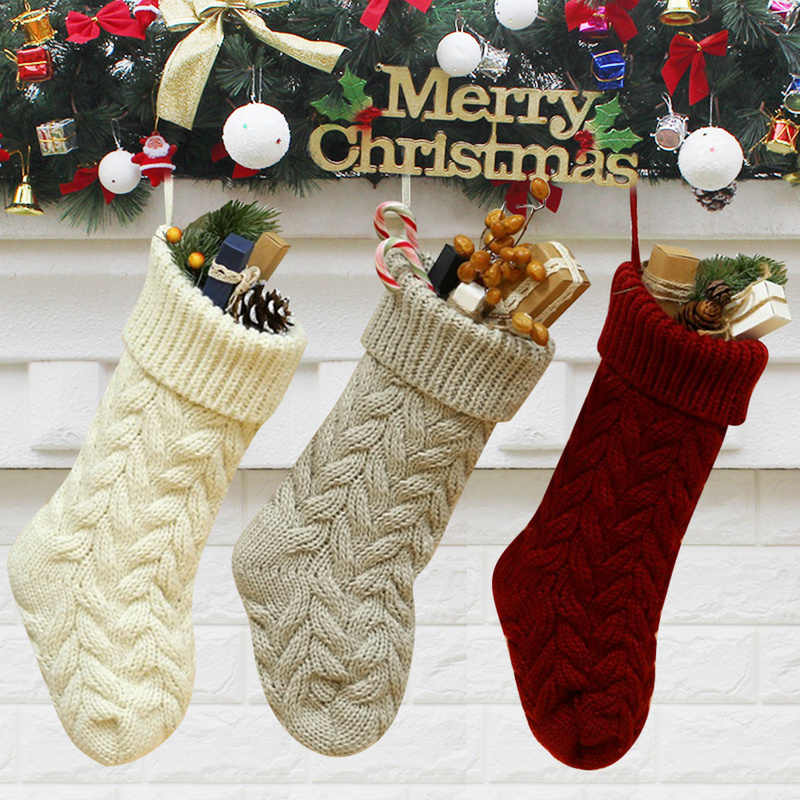 Knitted Christmas Stockings Xmas Candy Gift Bag Stockings Shoe Boot Fireplace Decoration Bags for Home Festival Supply