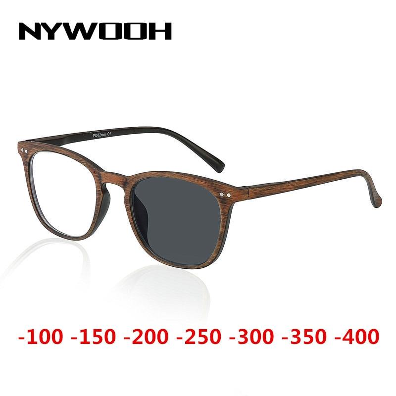 NYWOOH Photochromic Finished Myopia Glasses Women Men Imitation Wood Frame Student 1.56 Aspherical Lens Shortsighted Eyeglasses