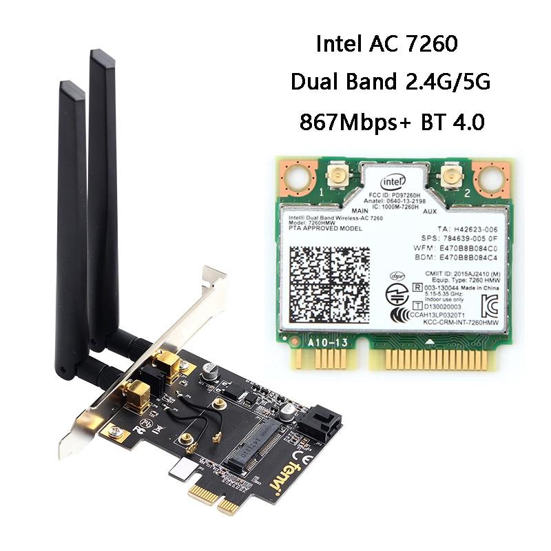 Convertisseur de carte réseau sans fil Mini PCI-E vers adaptateur PCI-E de bureau pour carte Wi-Fi Intel 7260HMW 3160HMW BCM94352HMB