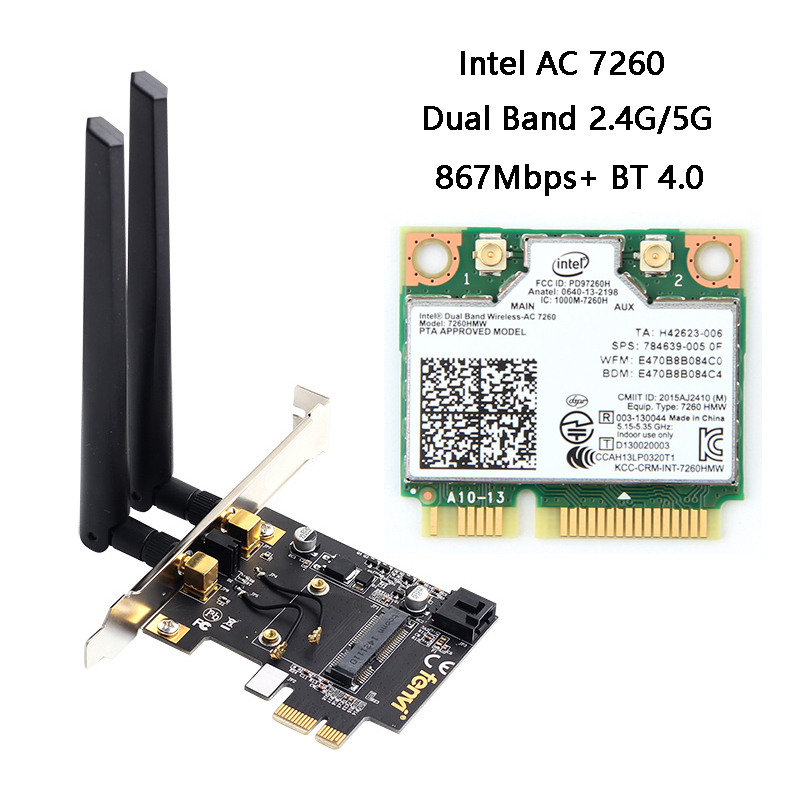 Wireless Mini PCI-E Network Card To Desktop PCI-E Adapter Converter For Intel 7260HMW 3160HMW BCM94352HMB Wi-Fi Card