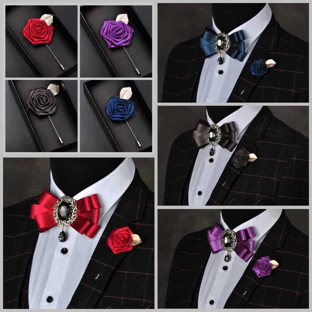 I-Remiel British Style Men's Bow Brooch Tie For Groom Wedding Rhinestone Bowtie Pin Master Of Ceremonies Nightclub Accessories
