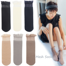 1 Pair Women Mesh Thin Socks 2020 Spring Summer New Soft Lace Transparent Fashion Unisex Comfortable Cartoon Short