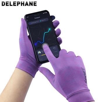 Lato chłodzenie lodowy jedwab rękawice gimnastyczne telefon dotykowy rękawiczki z ekranem oddychające rękawiczki jeździeckie trening wspinaczka piesze wycieczki kobiety rękawiczki tanie i dobre opinie Delephane Dla dorosłych Unisex Wiskoza Paski Nadgarstek Moda D-GV132-01 China (mainland) L XL Purple Grey Green Pink - purple
