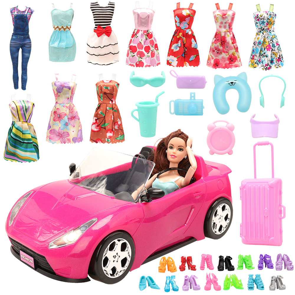 New Arrive Handmade 30 Items /lot= 10 Dolls Clothes 10 Doll Shoes 8 Living Accessories Trunk Toy Car For Barbie Game DIY Present