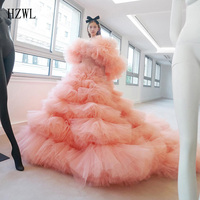 2020 New Fashion Coral Prom Dresses Party Gown Ruffles Tiered Tulle 2020 Formal Evening Dress Long vestidos de quinseanera 2020