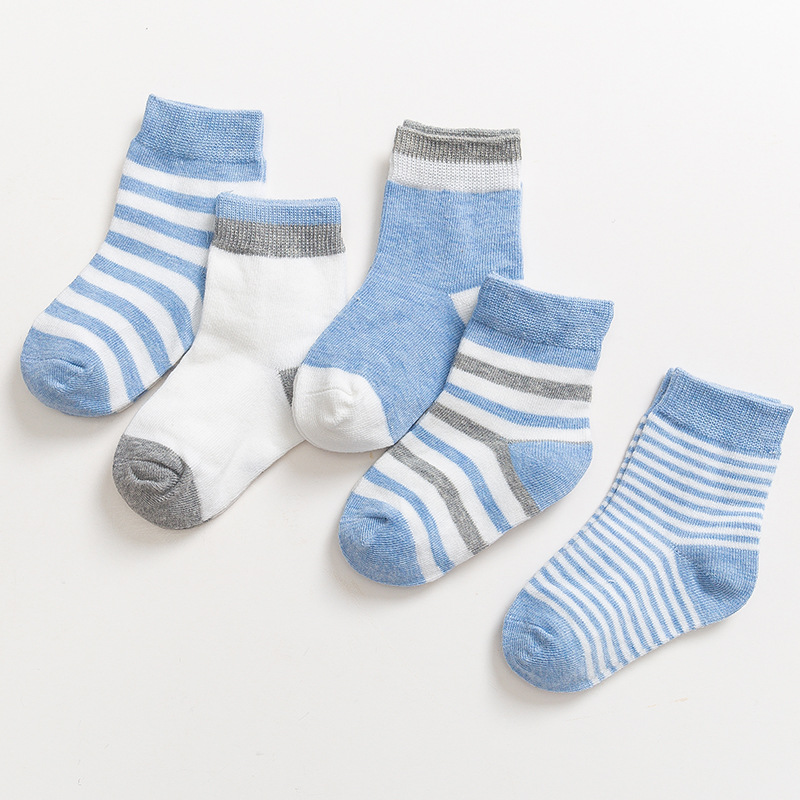 New 5Pairs/set Newborn Cotton Socks Winter Autumn Baby Girls Boys Kids Socks Infant Striped Terry Warm Children Socks