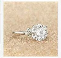 Free express shipping 100% Genuine 585 white gold ring with Moissanite 2carat ,Brilliant Moissanite Pass the test
