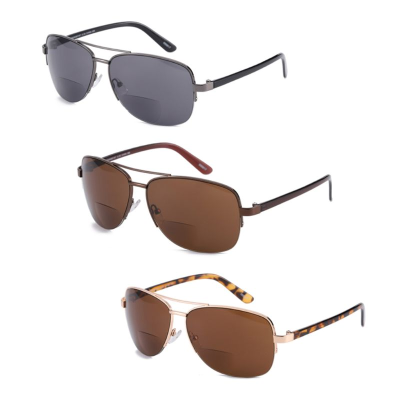 Men Women Bifocal Reading Glasses Sunglasses Sun Readers Half Frame Presbyopic with Diopters +1.0 to +3.5