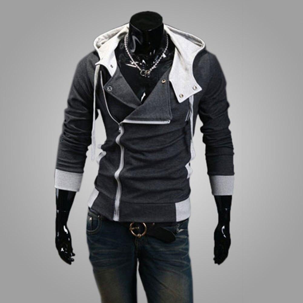 Mode hommes polaire sweat à capuche couleur Patchwork côté veste à glissière décontracté hommes à manches longues noir gris bleu à capuche manteau - 2
