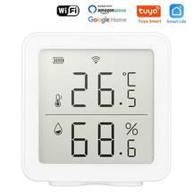 Tuya-Sensor de temperatura y humedad WIFI para interiores, higrómetro, termómetro, Detector, compatible con Alexa, Google Home, Sensor de vida inteligente