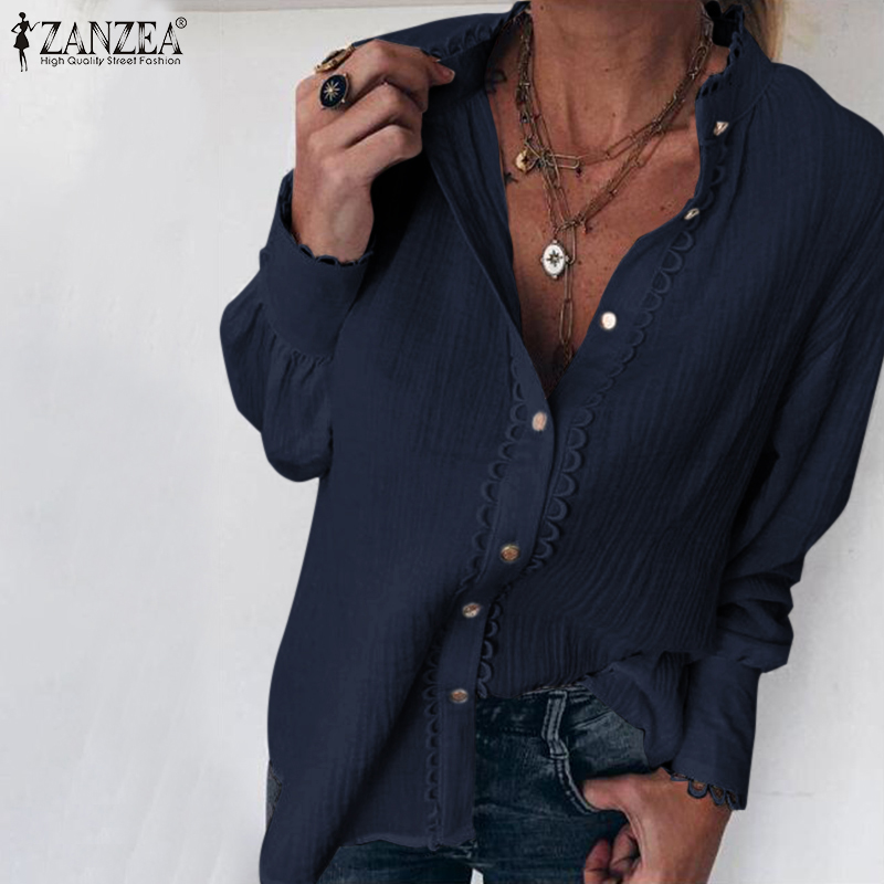 ZANZEA Spring Long Sleeve Cotton Linen Shirt Elegant Women Lace Crochet Blouse Female Patchwork Tunic Tops Loose Buttons Blusas7