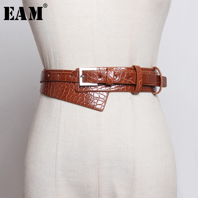 [EAM]  Pu Leather Multicolor Split Joint Asymmetrical Long Belt Personality Women New Fashion All-match Spring Autumn 2020 1K143