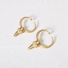 2019 Bovine Skulls Design Retro Metal Drop Earrings For Women Copper Plated Gold Jewelry