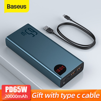 Baseus-Banco de energía PD de 65W, 20000mAh, QC4.0, cargador de batería externo portátil para iPhone, Xiaomi, Macbook, PoverBank