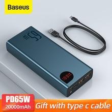 Baseus – batterie externe Portable 65W, PowerBank 20000mAh, chargeur pour iPhone Xiaomi Macbook QC4.0