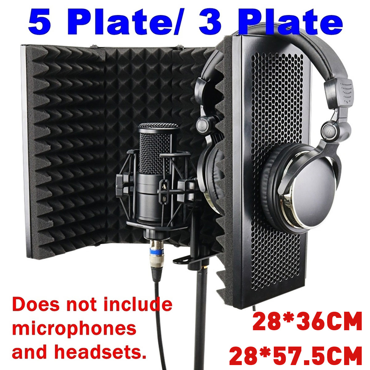 3 Plate Foldable Recording Microphone Wind Screen Board Sound-absorbing Cover Microphone Sound Insolation Shield Screen Sound