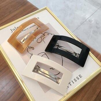 Korean 2020 Acetate Hollow Hair Clips For Women Leopard Marble Geometric Rectangle Duckbill Barrette Hairpin Accessories