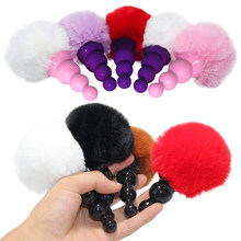 Tpr contas anal butt plug bunny cauda anal plug coelho anal sexo brinquedos para mulher homem gay adulto jogo cosplsy