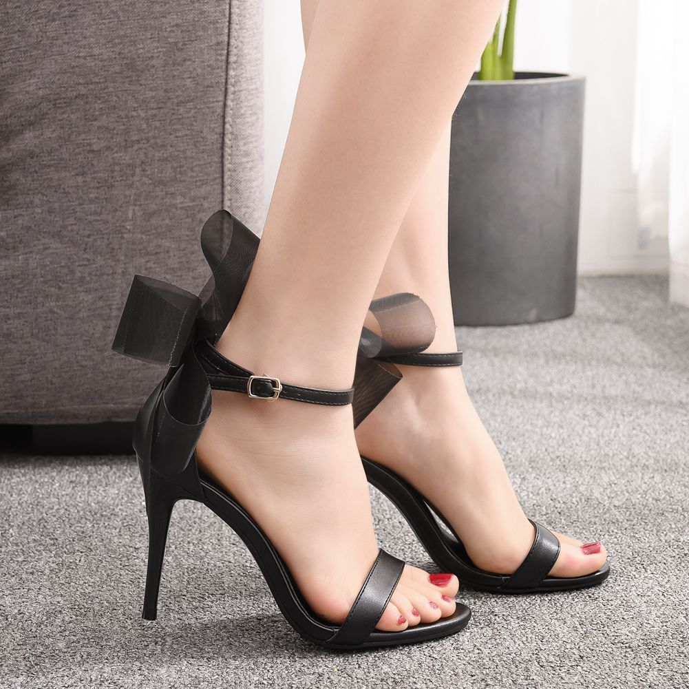 Women High Heels Club Bow Fashion Sandals Wedding Party Korean Style Peep Toes Buckle Strap Woman Party Shoes Black Summer Shoes Strappy Sandals Skechers Sandals From Wasabiu 28 05 Dhgate Com