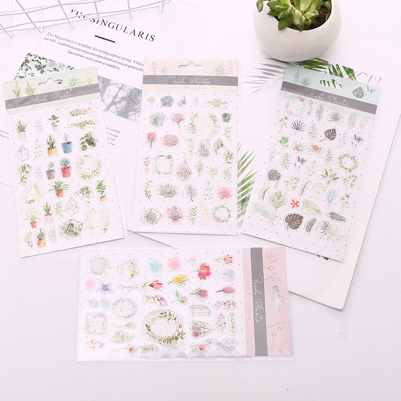 6Sheets Cute Plant Stickers Kawaii Stationery Stickers Epoxy Adhesive Sticker For Kids DIY Scrapbooking Diary Albums Supplies