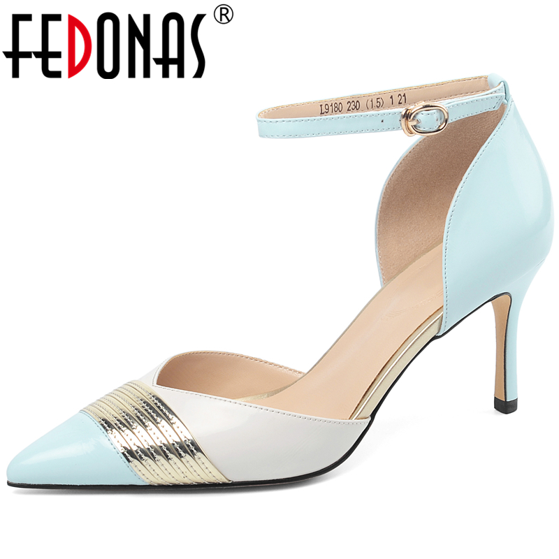 FEDONAS Elegant Concise Women Cow Patent Leather Mixed Colors Ankle Strap 2020 Spring Party Wedding Prom High Heels Shoes Woman