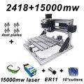 15W CNC2418 Blau Laser Gravur Maschine mit 500mw 2500mw 5500mw 15000mw Kopf Holz Router Carving maschine Acryl PCB PVC