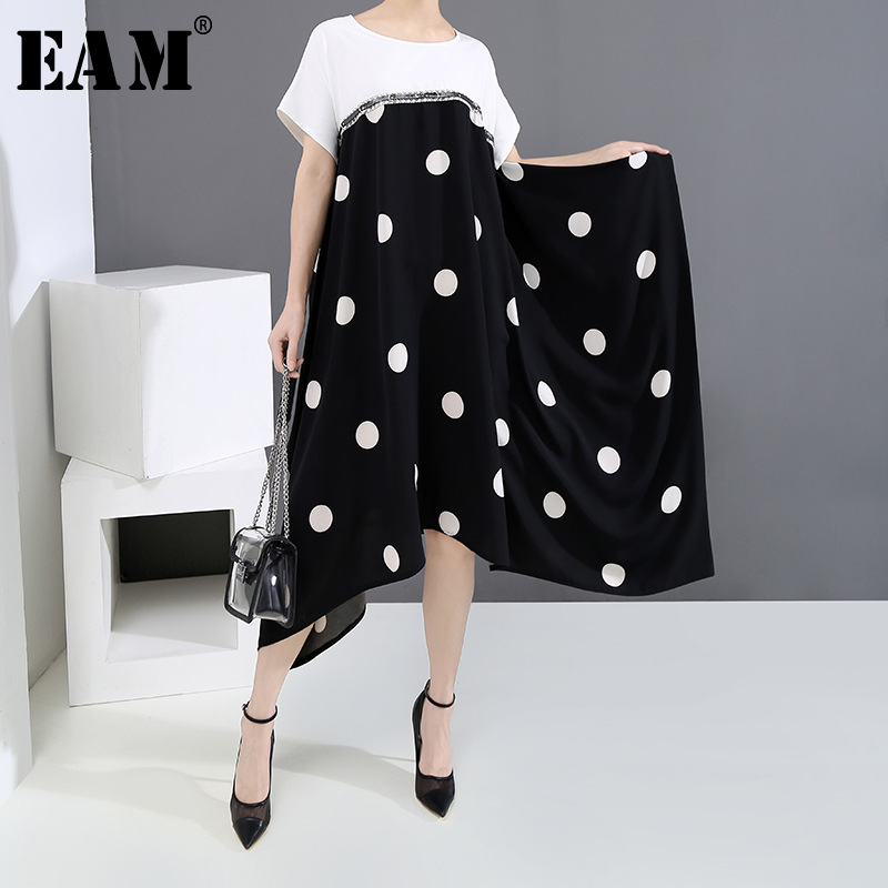 [EAM] Women Black Dot Printed Split Joint Big Size Dress New Round Neck Short Sleeve Loose Fit Fashion Spring Summer 2020 1U154