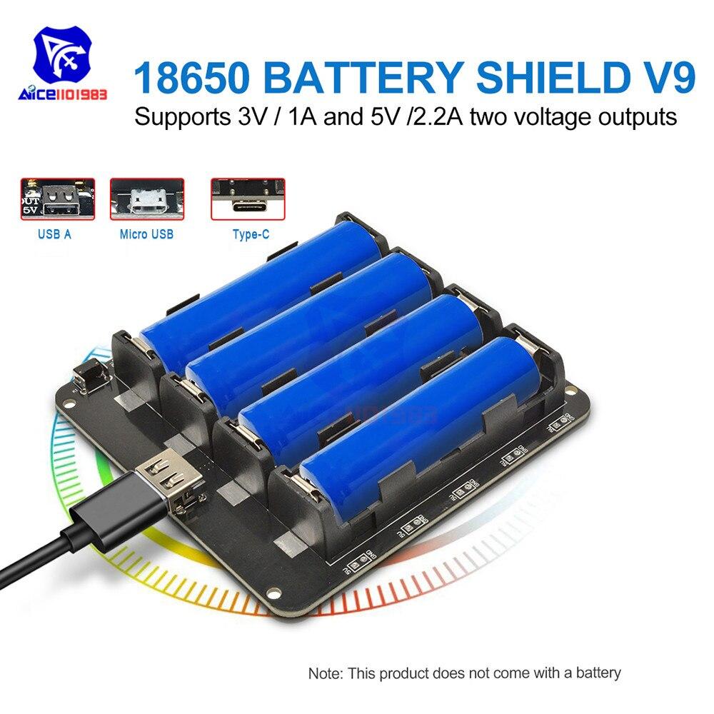 Diymore ESP32 ESP32S WeMos 4PCS 18650 Lithium Battery Charging Shield 5V/3A 3V/1A Power Bank Expansion Board V9 For Arduino