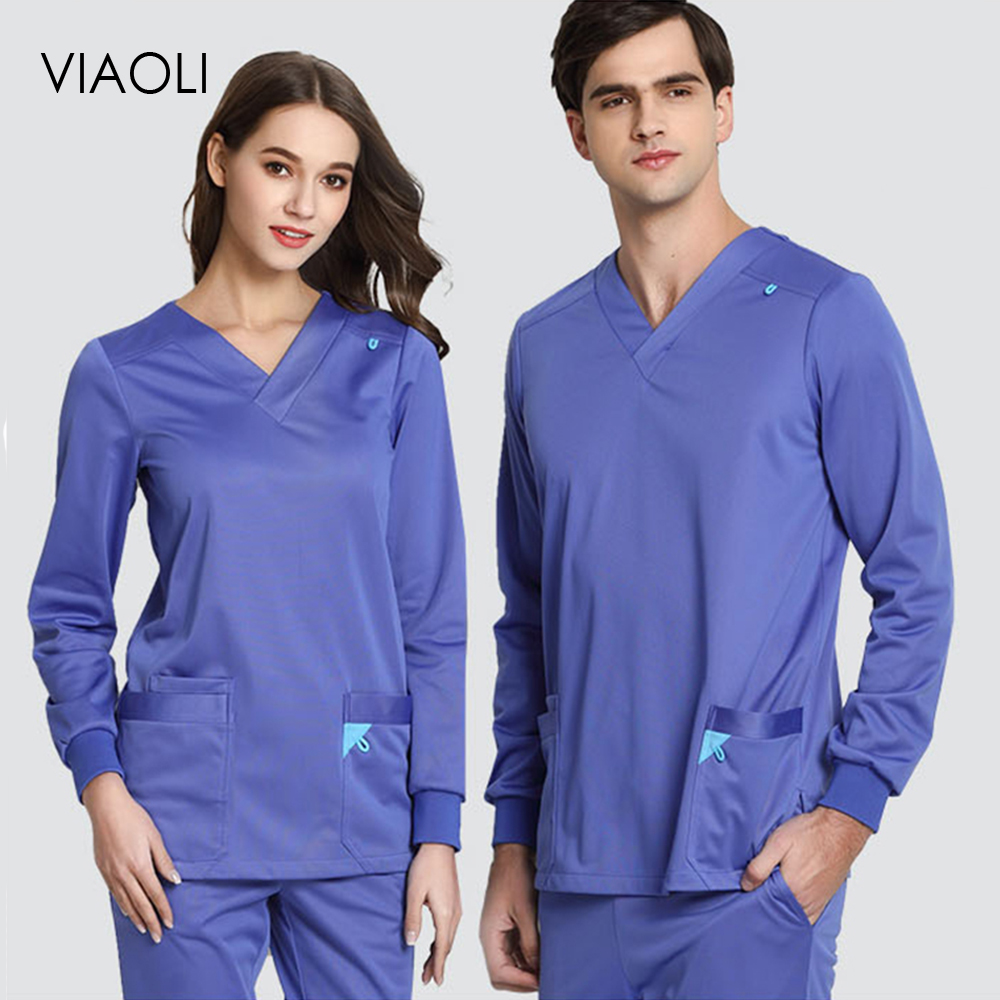 Viaoli New Stretch Rib Knit Scrubs Medical Uniforms Full Elastic Medical Clothes Set Men Top&Pant Scrubs Medical Uniforms Women