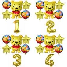 1Set Winnie Bear Folie Ballonnen Gelukkige Verjaardag Decoraties De Poohs Lucht Ballon Bruiloft Decoratie Kinderen Klassieke Speelgoed
