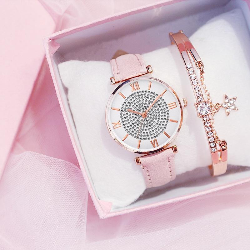 Luxury Women's Watches Bracelet Set Starry Sky Ladies Women Watch Casual Leather Quartz Wristwatch Girl Clock Relogio Feminino