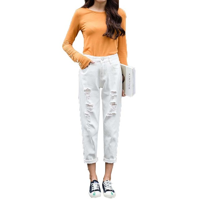 Mom Jeans Denim Crop Ankle Length White Black High Waisted Ripped Jeans For Women Vintage Ladies Boyfriend Baggy Loose Pants 019 6
