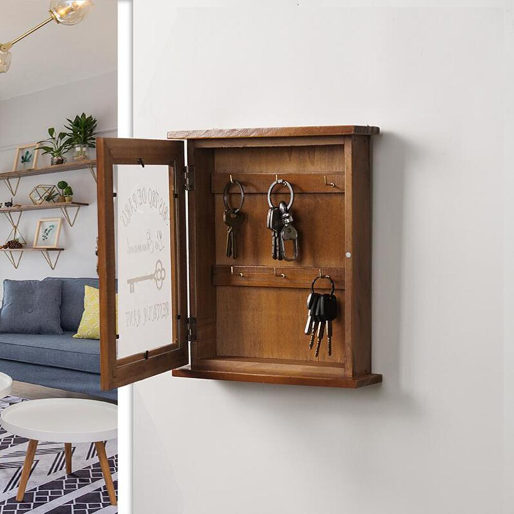 European Style Wooden Key Holder Box With 6 Hooks Wall Mounted Handmade With Rustic Finish For Home Décor - 2 Color