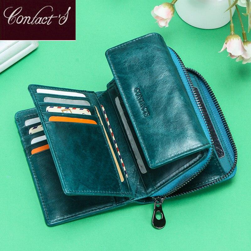 Contact's Ladies Genuine Leather Wallet Women Clutch Wallet Luxury Femal Coin Purse Rfid Card Holder Carteras Monederos Mujer