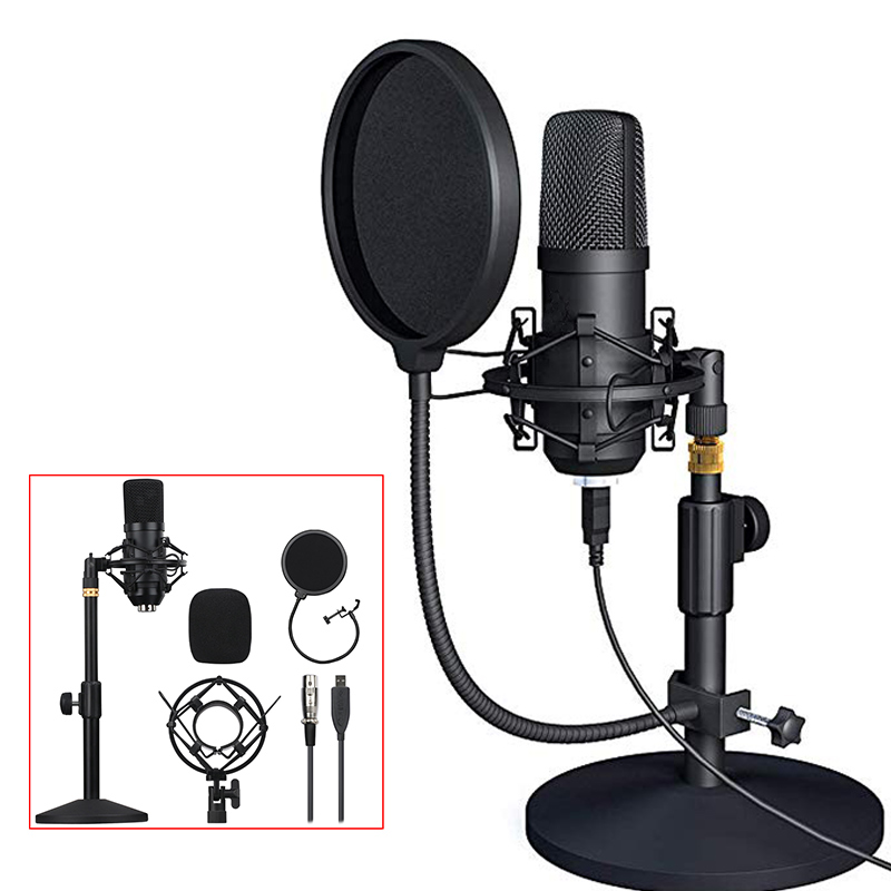 Professional USB Condenser Microphone Cardioid Mic Plug And Play USB Microphone Kit For PC Computer Laptop YouTube Gameing