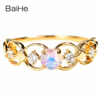 BAIHE Solid 14K White Gold(AU585) 0.30ct Round Genuine Natural Opal Engagement beautiful Trendy Fine Jewelry Elegant Gift Ring