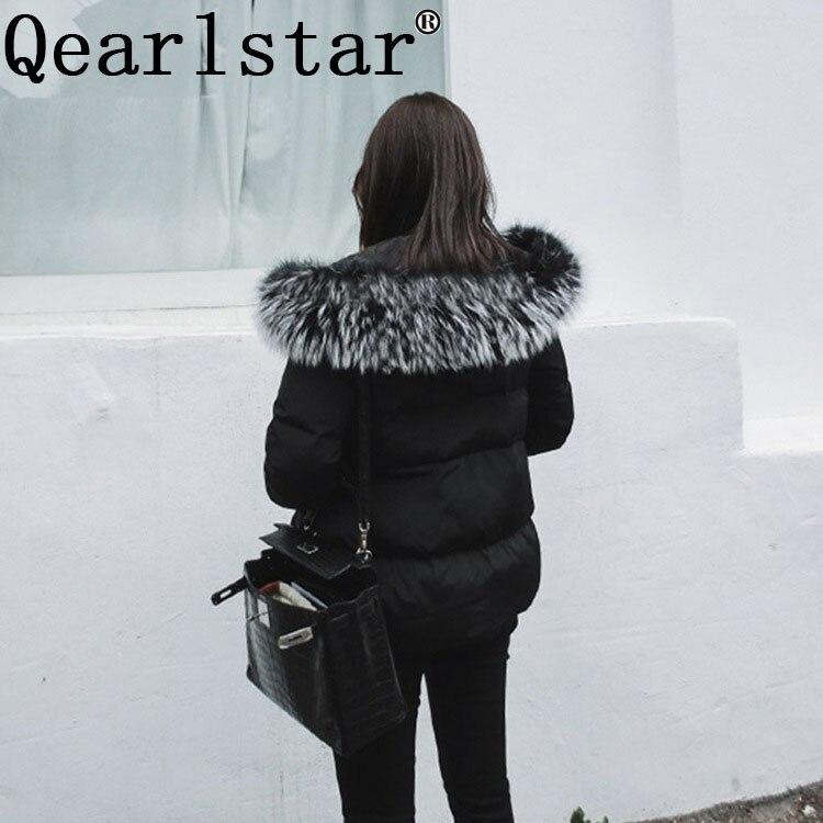 Image 2 - Qearlstar 2019 Real Raccoon Fur Collars Black Fur Scarf Women Winter Coat Parka Jackets Real Fur Hood Trim Collar 70*12cm Zxx122-in Women's Scarves from Apparel Accessories
