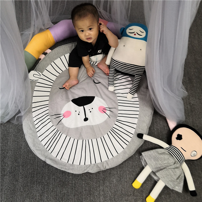 Hc18f7207de644e8998c2dbcd5d808a5dI Child Play Mats kids animal Crawling Carpet Floor Rug Baby soft cotton sleeping Game rugs Children Room Decor Photo Props 90CM