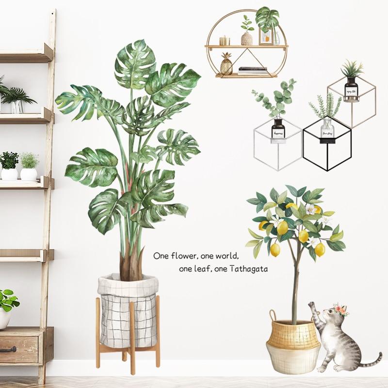 Купить зеленые растения наклейки на стену монстера горшечные листья