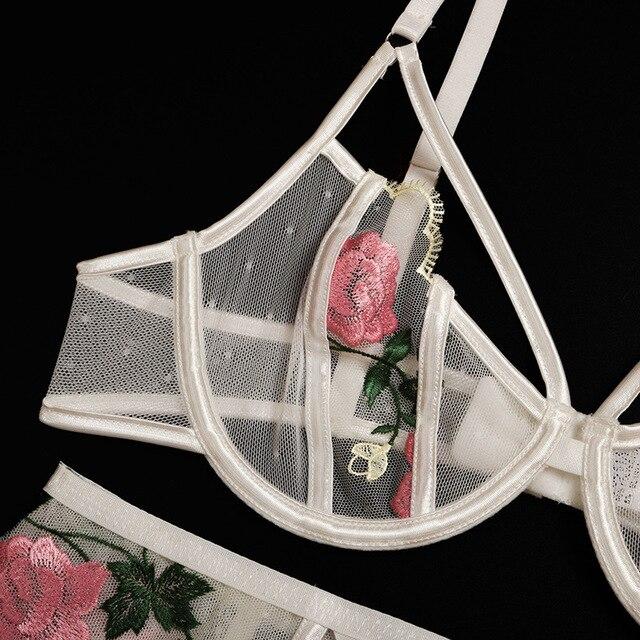 Frauen Unterwäsche Floral Stickerei Transparent Dessous Set Sexy Unterwäsche für Frauen Bh Set 2