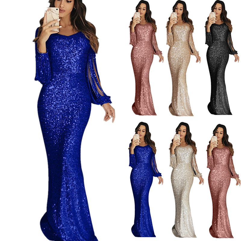 Long Sequined Evening Dress Tassel Prom Dress Long Sleeve Mermaid Gown Real PictureVestidos Elegante Sequined Robe De Soiree