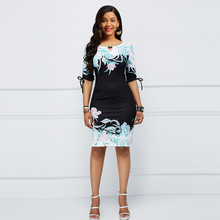 Women Plus Size Floral Sexy Bodycon Dress Summer Retro Elegant Stylish Slim Lace Up Big Sizes Ladies Black Casual Print Dresses stylish cami lace women s bodycon dress